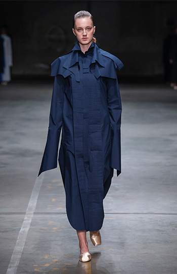 HAESUNG BONG, Shirtdress, Slim Navy with Cape, 면 100%,Cotton 100%