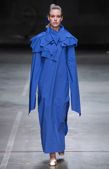 HAESUNG BONG, Shirtdress, Slim Royal Blue with Cape, 면 100%, Cotton 100%