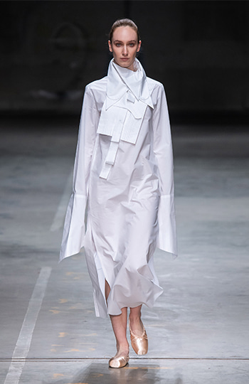 HAESUNG BONG, Shirtdress Slim White, 면 100%, Cotton 100%